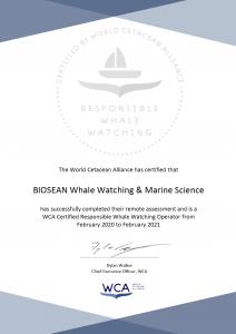 Biosean WCA responsible whale watching certification